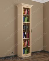 Шкаф книжный с витражом ШККН (I) №1 в цвете «молочный дуб»