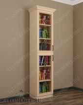 Книжный шкаф с витражом ШККН (I) №2 в цвете «молочный дуб»