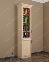 Шкаф книжный витражный ШККН (I) №3 в цвете «молочный дуб»