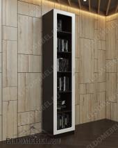 Глянцевый книжный шкаф ШККН (I) №1 в цвете «венге / ясень серебро»